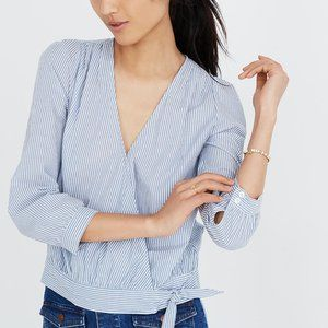 [NWT] Madewell Wrap Top  in Blue Stripe